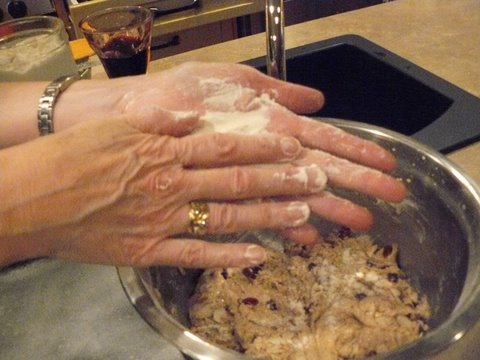 Flour hands to keep dough from being so sticky or else dough will be very difficult to handle.
