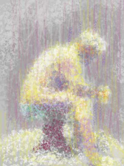 abstract digital painting seated male nude