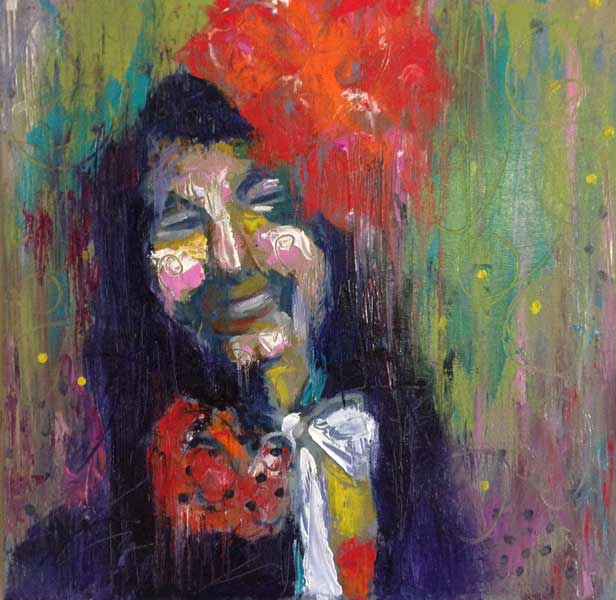 figurative painting, woman with red flowers in hair, expressive portrait painting, colorful costume figure painting