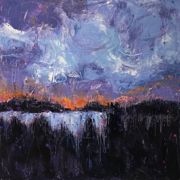 Abstract landscape painting, skyscapes, waterscapes, palette knife abstract landscape