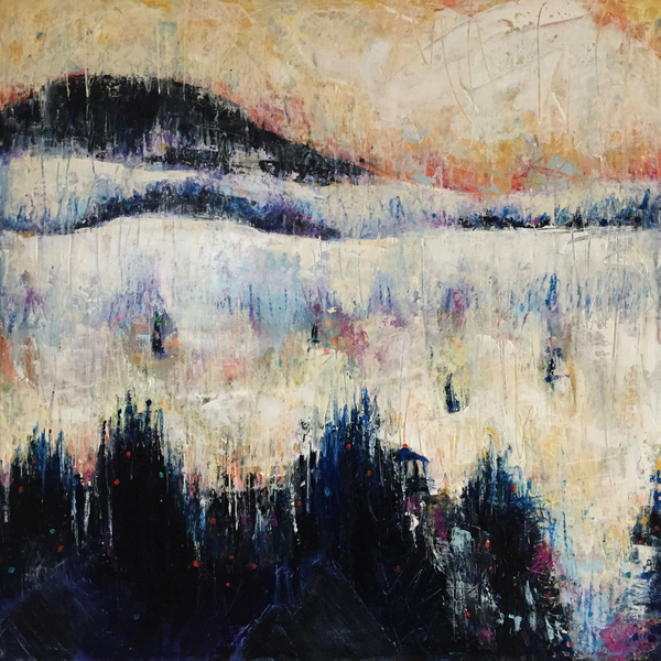 Dynamic semi-abstract landscape painting Paula O'Brien