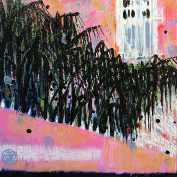 abstract landscape painting, poink house Mexico loose landcsape