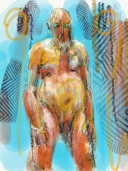 abstract male nude life drawing, digital painting nude