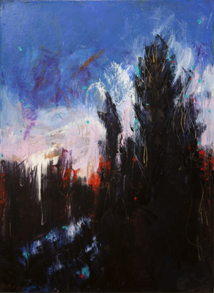 Colorful oil paintings, abstract landscape painting by Paula O'Brien