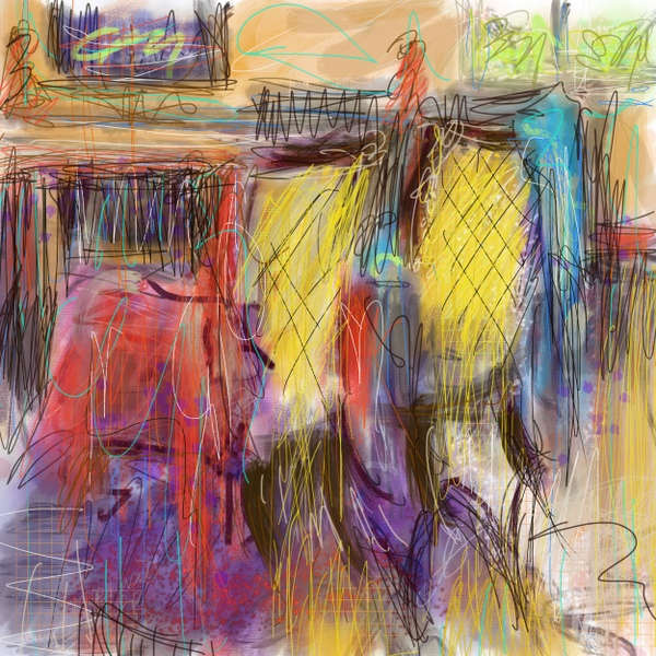 two yellow chairs, painting of yellow chairs