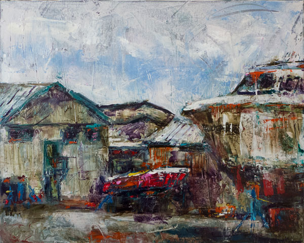 boat yard, working fishing boats in boatyard, plein air oil painting, palette knife oil painting, west coast landscape painting