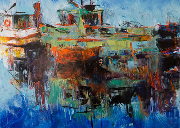 palette knife painting, fishing boats, Canadian artist, west coast landscape, water reflections
